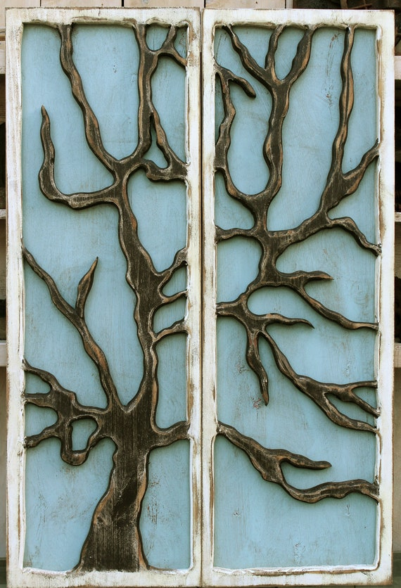 Rustic wall tree hanging distressed reclaimed wood wall mount for Beach cabin decor