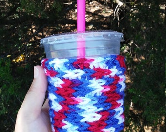 Patriotic Cup Cozy, Coffee Cozy, 4th July Cozy, Red White Blue,Ice Cream Cozy, Crochet Coffee Cozy, Reusable Coffee Sleeve, Iced Coffee Cozy
