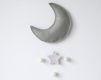Moon and Star Baby Mobile, Crib Mobile, Nursery Decor, Grey and Silver Glitter