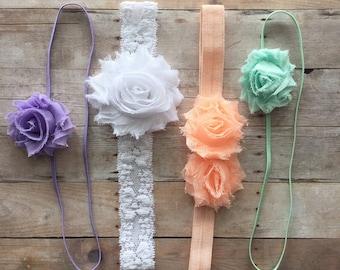 FOUR Baby Girl Headbands, Shabby Chic Headband, Baby Headbands, Newborn Headband, Peach, Purple, White, Seafoam headbands, Baby shower gift
