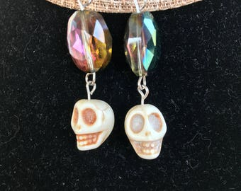 Skull bead with multi-chrome bead earrings