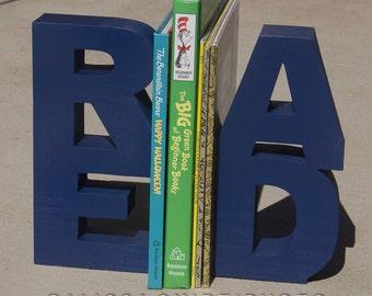 READ Wooden Bookends (wood bookends, read bookends, navy blue, teacher gift, classroom decor, bookshelf, home decor, nursery decor)