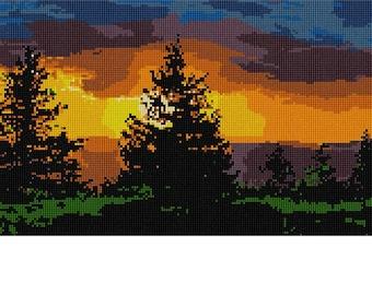 Needlepoint Kit or Canvas: Evergreen Sunset