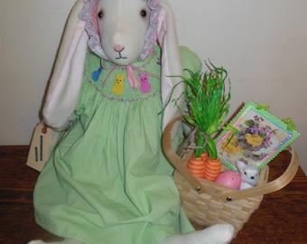 Primitive Folk Art Large Easter Spring Bunny Doll 100% Wool Felt Smocked Dress