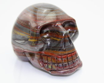 Red Tiger Iron Crystal Skull, Tiger's Eye w/ Hematite a.k.a. Mugglestone (240 grams, South Africa) #SKULL20