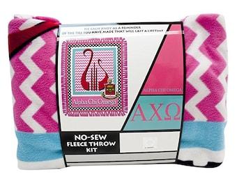 "Alpha Chi Omega No Sew Fleece Throw Blanket Kit 48"" wide"
