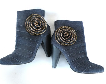 Ankle Boots Blue Jean- High Heel-Floral Zippers- Ladies Shoe Size 5 1-2