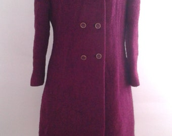 Vintage 1960's Bromleigh Purple Magenta Bouclé Wool Coat Double Breasted Sz Small Med Mod Jackie O
