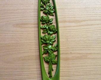 Vintage Burwood Rose plaque upcycled in fern green