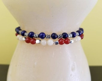 Lapis Lazuli  and a Red Agate with Lt. Yellow Jade Gemstones Anklets