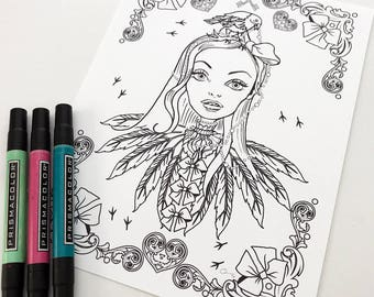 Crow Girl Instant Download Coloring Page Pocket Full of Posiez