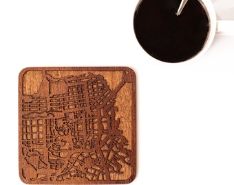San Francisco map coaster, One piece, Sapele wooden coaster with city map,Multiple city optional, IDEAL GIFTS