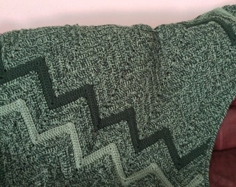 Green Crocheted Afghan - lap size blanket