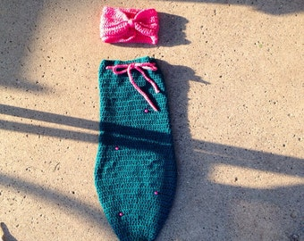 Mermaid tail - infant mermaid tail - crocheted mermaid tail - mermaid tail set - mermaid photo prop - free shipping - photography prop