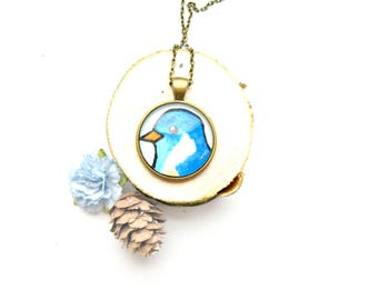 Painted Blue Bird Necklace Antique Bronze - OOAK Necklace, Unique Jewellery, Unique Gift, One of a kind Necklace, Bird Jewellery