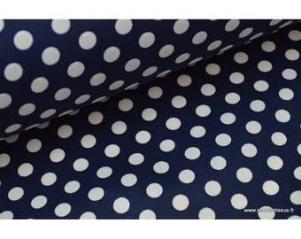 Printed fabric, waterproof waterproof Navy white polka dots.