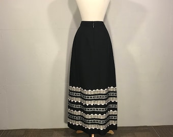 Vintage Ball Skirt, Handmade Maxi Skirt, Silver Aplique Lace Skirt, Metalic  Applique Lace