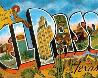 El Paso, Texas Postcard, Texas Souvenir Postcard, Texas Vintage Postcard, Texas State, El Paso Vintage postcard,  El Paso postcard, Texas