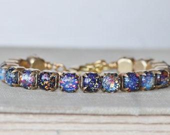 RARE Vintage German Black Rainbow Opal Bracelet,Black Fire Opal,Glass Opal Tennis Bracelet,Rhinestone Bracelet,Vintage Brass Chain,Unique