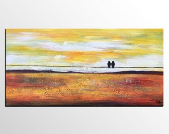 Abstract Art Painting, Love Birds Painting, Modern Art Painting, Canvas Art, Abstract Painting, Large Abstract Painting, Wedding Gift
