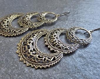 Antique Gold Ox Brass Filigree Triple Crescent Earrings Hypoallergenic Titanium, Niobium OR Gold Vermeil Ear Wires - Tribal - Boho - Gypsy