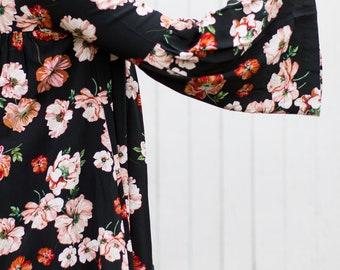 Luna Bellsleeve Dress (Black Floral) - Bellsleeve dress with front and back gathering