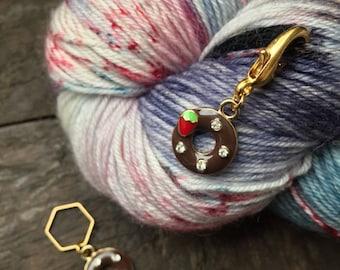 Chocolate Strawberry Donut Knitting Stitch Marker / Progress Keeper