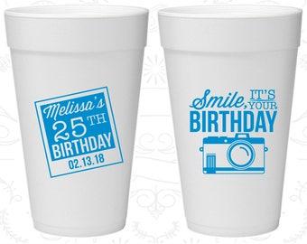 25th Birthday Styrofoam Cups, Smile, its your birthday, vintage camera, Birthday Foam Cups (20053)