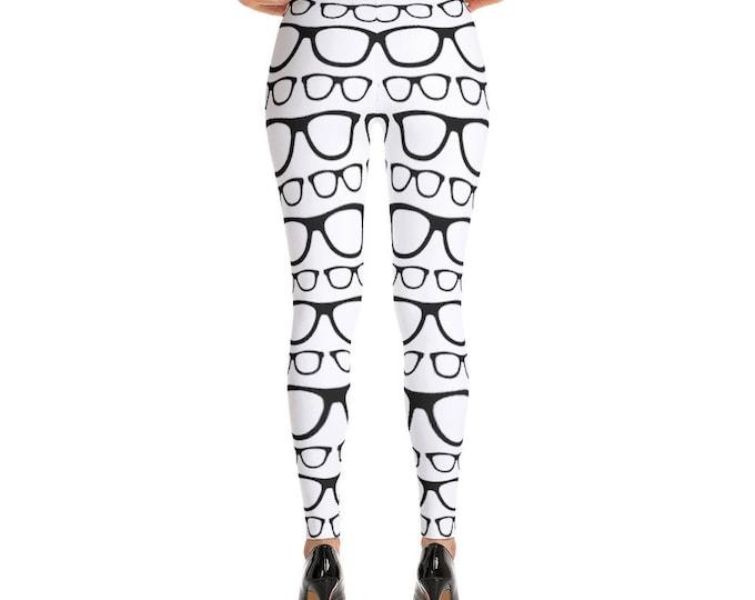 Black and White Nerdy Glasses Leggings, Funny Leggings, Womens Leggings, Leggings for Women