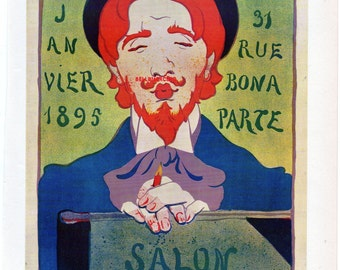 French Poster - Paul - 1897 H R Georges - Salon des Cent Art Gallery Print  1968 Reproduction Print 8-1/2 x 12