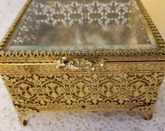 Antique Ormolu gold gilt jewelry casket