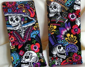 Day of the Dead Quilted Eyeglass Case, Quilted Day of the Dead Sunglass Cozy, Lined Eyeglass Case, Dios de Los Muertos Eyewear Cozy,