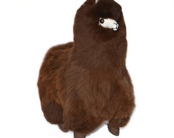 18 inches Dark Brown Alpaca Plush. 100% Baby Alpaca. Handmade on Genuine Baby Alpaca Fur. Stuffed Alpaca. Alpaca Toy.