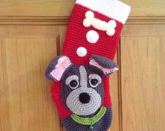 PATTERN-My Cute Dog Christmas Stocking-Crochet Pattern, pdf