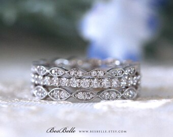 Three Set Mix & Matched Art Deco Full Eternity Rings-Brilliant Cut Diamond Simulant-Stackable Set Rings-Solid Sterling Silver [65429-3A]