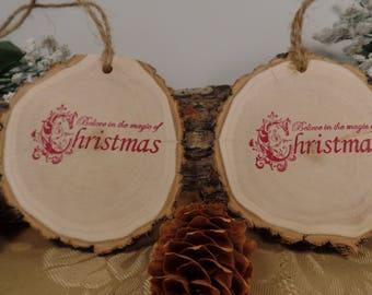 Christmas Tree Wood Slice Ornaments Set of 2, Wood Slices, Christmas Decor, Tree Ornaments, Log Slices, Christmas Ornaments, Tree Decor