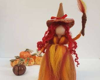 Witches, Bonfire night, needle felted witch, Waldorf inspired witch, Autumn colours, Halloween, Fall decor, thanks giving decoration, flames