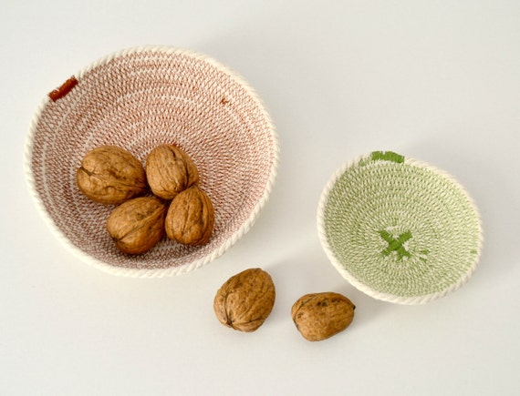 Cotton woven rope key bowl in olive green and rust a modern boho style table bowl new home gift