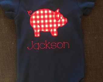 Preppy, Personalized Pig Onesie/T-Shirt, Gingham