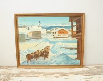 Original Oil Painting Winter with Sheep