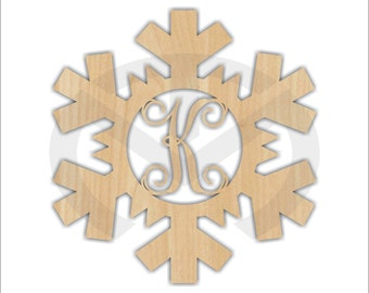 Unfinished Wood Snowflake Monogram Door Hanger Laser Cutout w/ Your Initial, Home Decor, Various Sizes, Script, Christmas, Winter