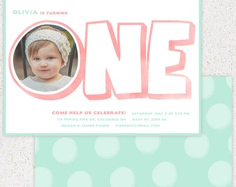 INSTANT DOWNLOAD--First Birthday Invitation Photoshop Card Template--b100