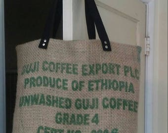 Large eco-friendly handcrafted lined repurposed coffee bean sack tote.