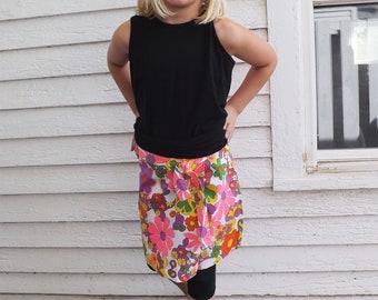 60s Girls Skort Skirt Mod Floral Print White Scooter Shorts Cotton Vintage 10 12