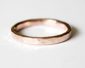 Ring - 14K Rose Gold Filled Ring - Hammered Pink Gold Band - Stacker Ring - Unisex - Men's - Women's - Wedding Band - Promise Ring