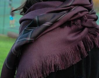 Melanzana melanzane scialle sciarpa oversize viola scuro coperta sciarpa Wrap sciarpa Check sciarpa sciarpa Tartan sciarpa regalo per donne Acessories