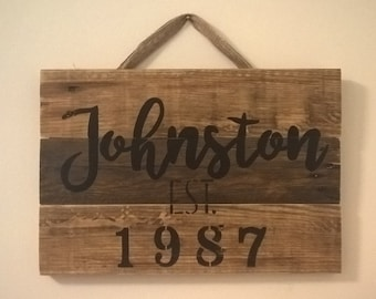 "CUSTOM Last Name/EST Year Wood Pallet Sign 16""x12"""