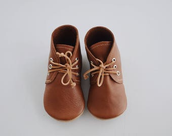 desert boots / baby moccasin moccs / soft soled baby shoes / Saddle brown