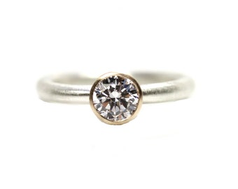 Modern Silver 14K Yellow Gold CZ Engagement Ring Calm Serene Minimalistic Two Tone Mixed Metals Simplistic Hers Bridal Design - Zengagement