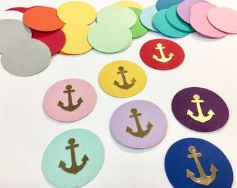 "Anchor Confetti - Circle Confetti - 1.5"" - Ahoy Baby Boy - Anchors - 50 Pieces - Table Confetti - Party Supplies - Scatter - Confetti"